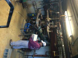 Inspecting a boiler room