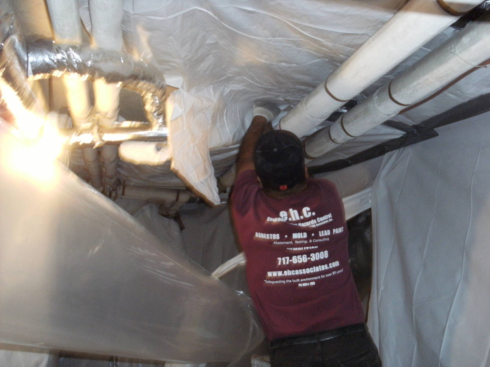 environmental hazards control working on a duct system