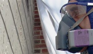 Worker Wearing Air Mask