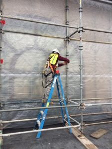 Lead Paint Abatement began this week at a historical landmark in Hershey, PA. Our crew is working on building the containment system on the scaffold in order to safely soda blast the lead paint from the historic structure.
